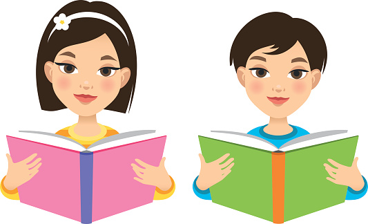 Girl and boy reading books
