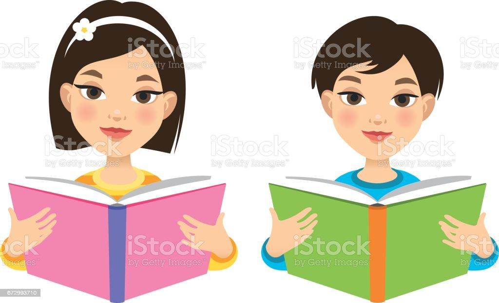 Girl and boy reading books vector art illustration
