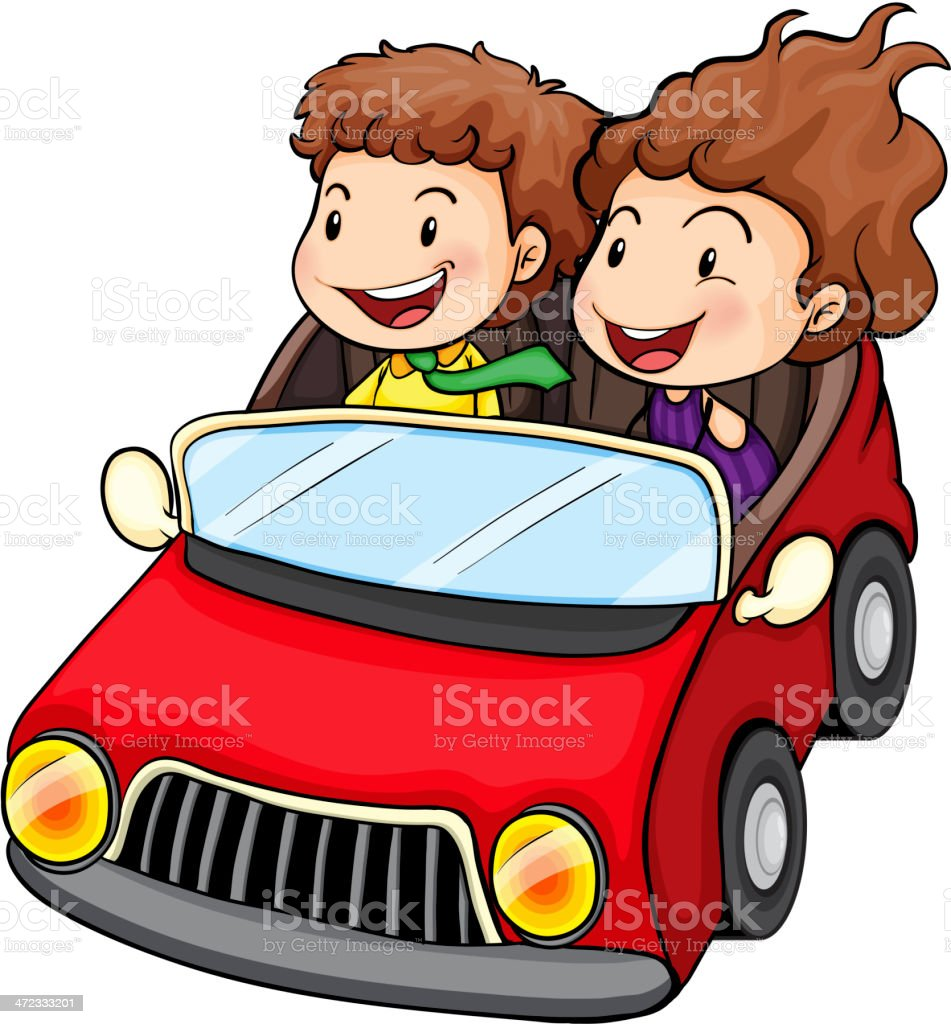 Girl and boy riding in the red car royalty-free stock vector art