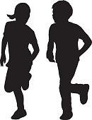 Vector silhouette of a girl and boy running together.