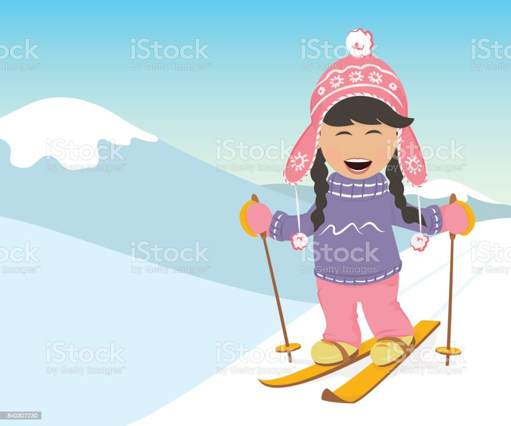 Girl and boy skiing in the mountains. vector art illustration
