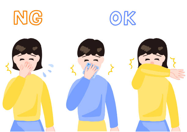 bildbanksillustrationer, clip art samt tecknat material och ikoner med flicka och pojke som nyser - sneezing