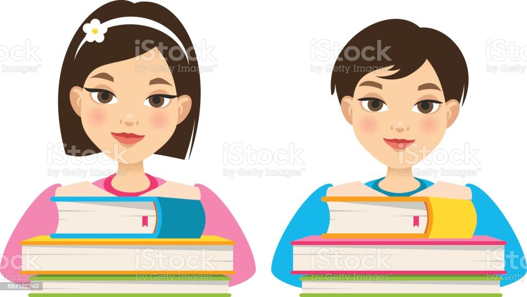 Girl and boy with books vector art illustration