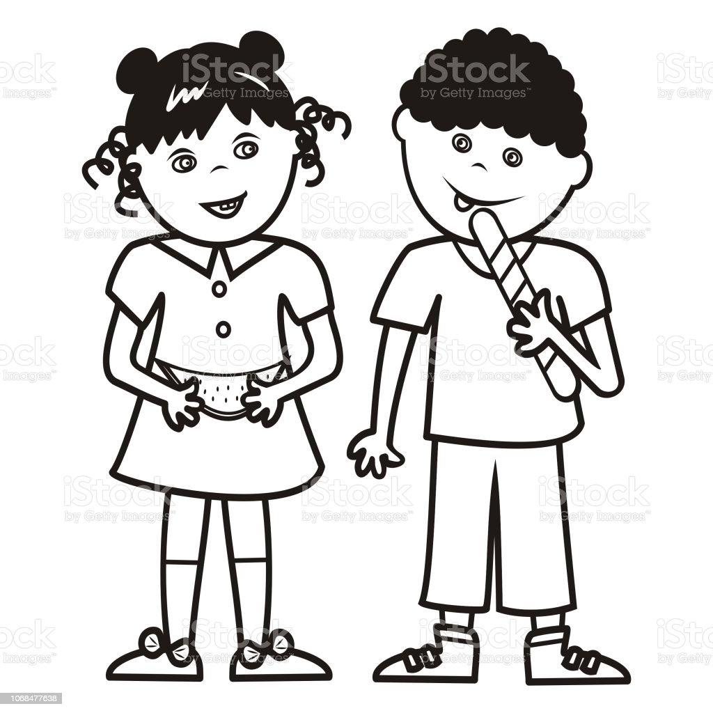 Ilustración De Chica Y Chico Con Melón Y Paleta Libro Para Colorear