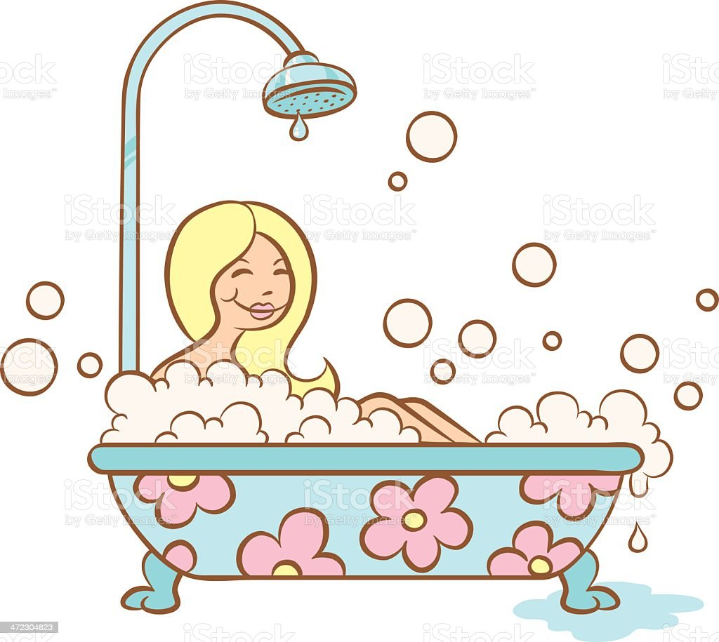 girl and bubble bath royalty-free stock vector art
