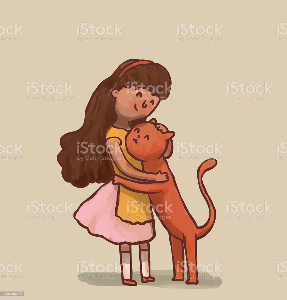 Girl and cat are hugging vector art illustration