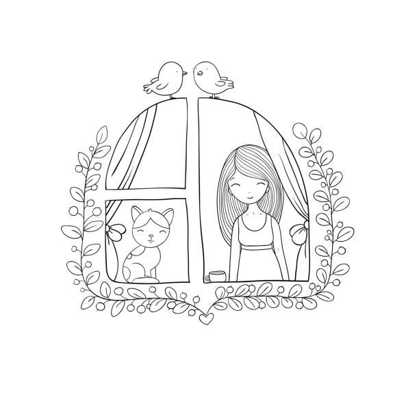 ilustrações de stock, clip art, desenhos animados e ícones de girl and cat at the window. - pena de pássaro algodão