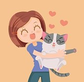 Girl and cat characters hug. Best friends. Vector flat cartoon illustration