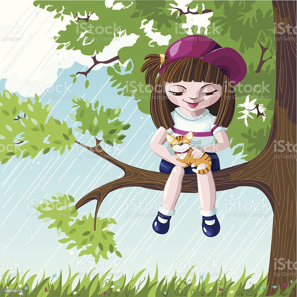 Girl and cat in a tree royalty-free girl and cat in a tree stock vector art & more images of a helping hand
