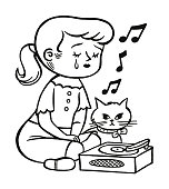 Girl and Cat Listening to Sad Music