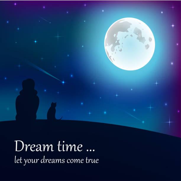 bildbanksillustrationer, clip art samt tecknat material och ikoner med flicka och katt sitter på jorden, tittar på månen under stjärnorna i natthimlen med text plats. - sparkle teen girl