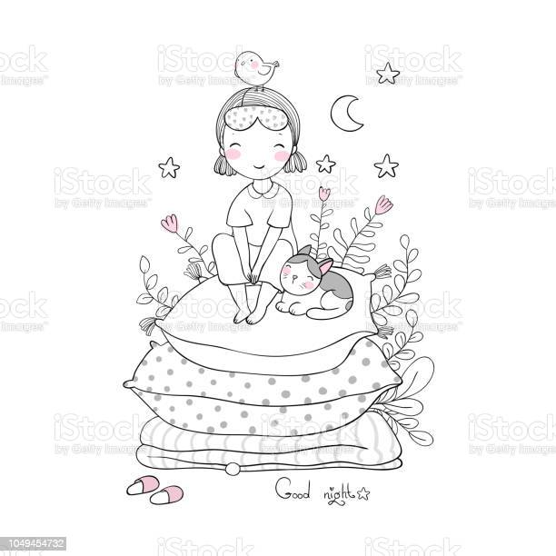 Girl and catsgood night sweet dreams bed timebed linen princess on vector id1049454732?b=1&k=6&m=1049454732&s=612x612&h=j1dgbyupf6iwcpllkwypeqi0d4t5ax0iyhnxbt2ag7k=