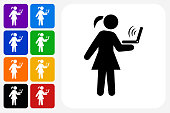 Girl and Computer Icon Square Button Set. The icon is in black on a white square with rounded corners. The are eight alternative button options on the left in purple, blue, navy, green, orange, yellow, black and red colors. The icon is in white against these vibrant backgrounds. The illustration is flat and will work well both online and in print.