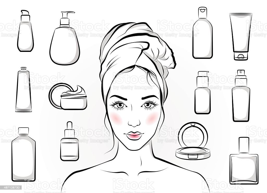girl and cosmetics stock vector art amp more images of 2015