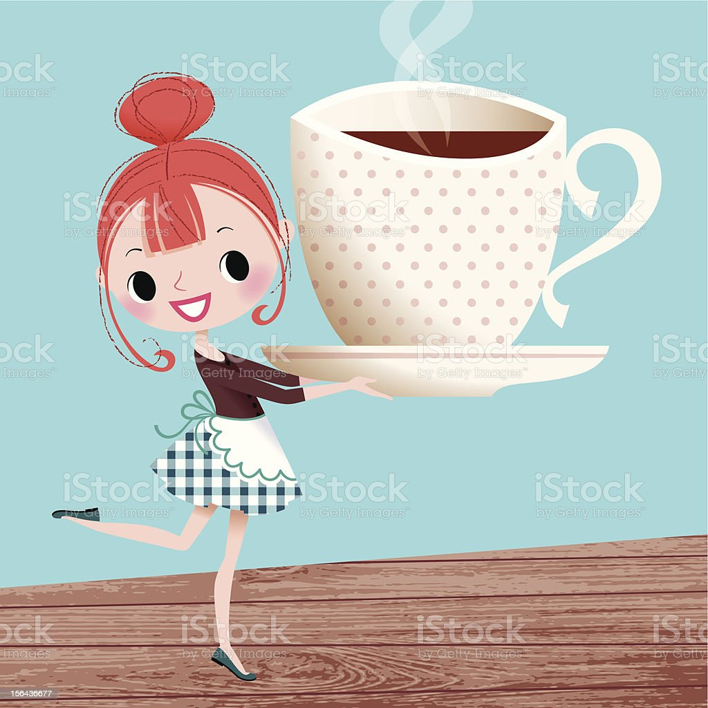 Girl and Cup fo Coffee. royalty-free stock vector art