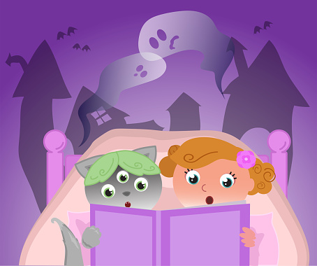 Girl and cute alien in bed reading a Halloween story, vector illustration