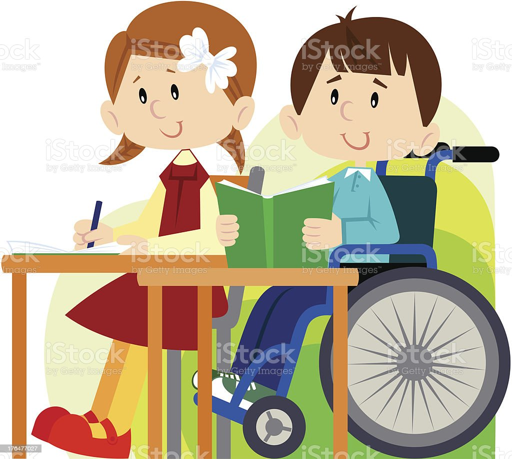 Girl and disabled boy in class together showing equality vector art illustration