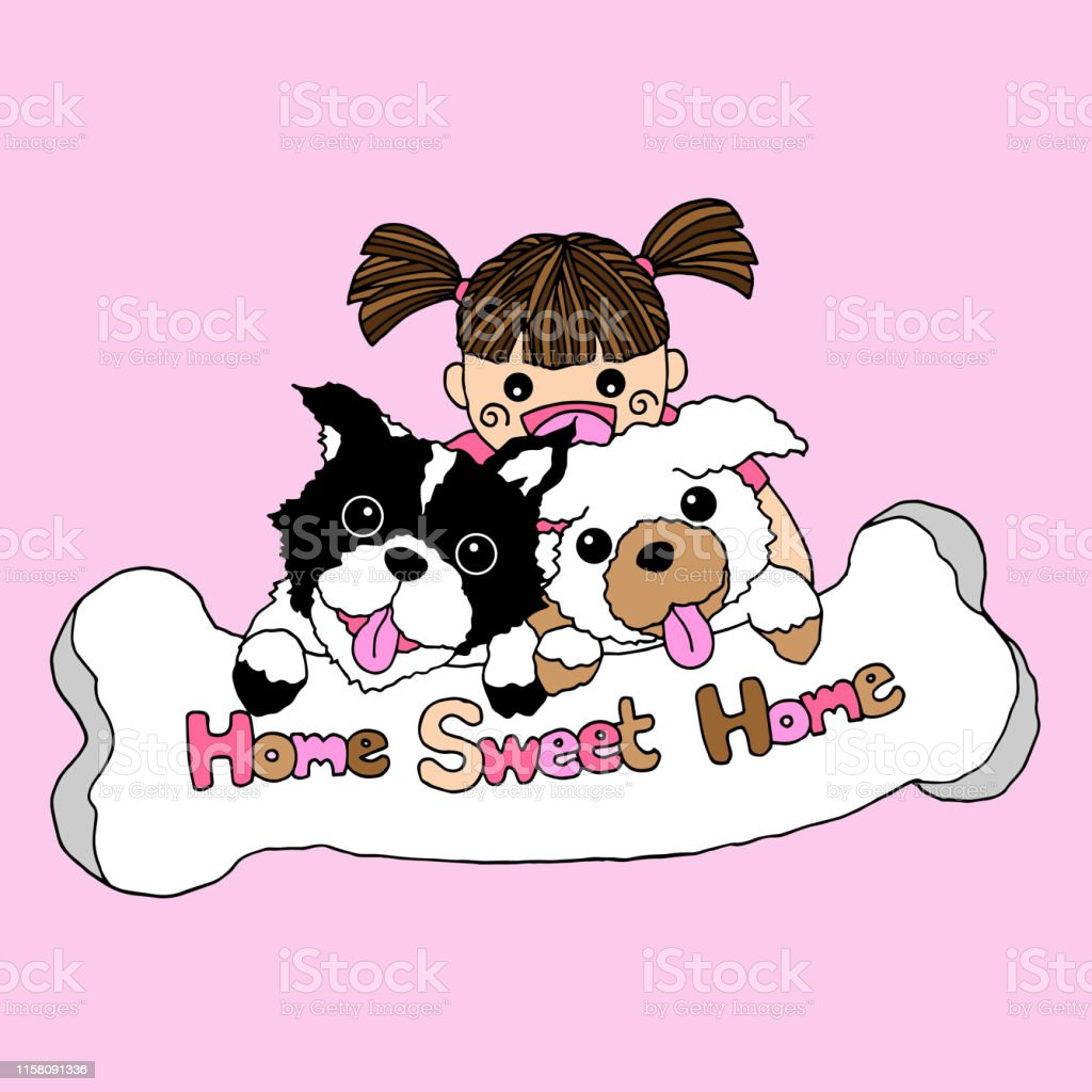 girl and dogs home sweet home vector illustration design hand drawing