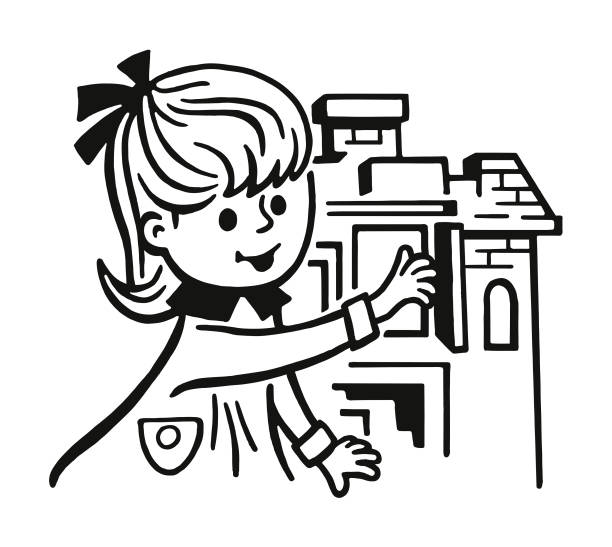 Girl and Dollhouse Girl and Dollhouse dollhouse stock illustrations