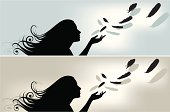 Illustration of a young girl spreading feathers on the air. Illustrator CS2 file also included. Separated layers.