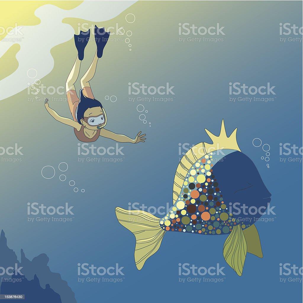 Girl and Fish royalty-free stock vector art