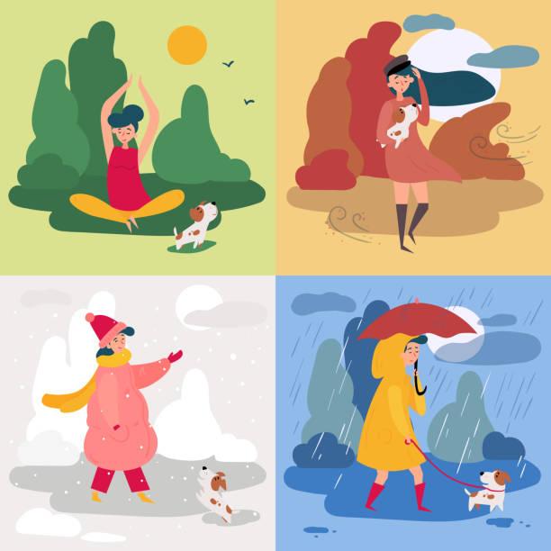ilustraciones, imágenes clip art, dibujos animados e iconos de stock de una niña y cuatro estaciones y el tiempo. nevadas, lluvias - calendario de naturaleza