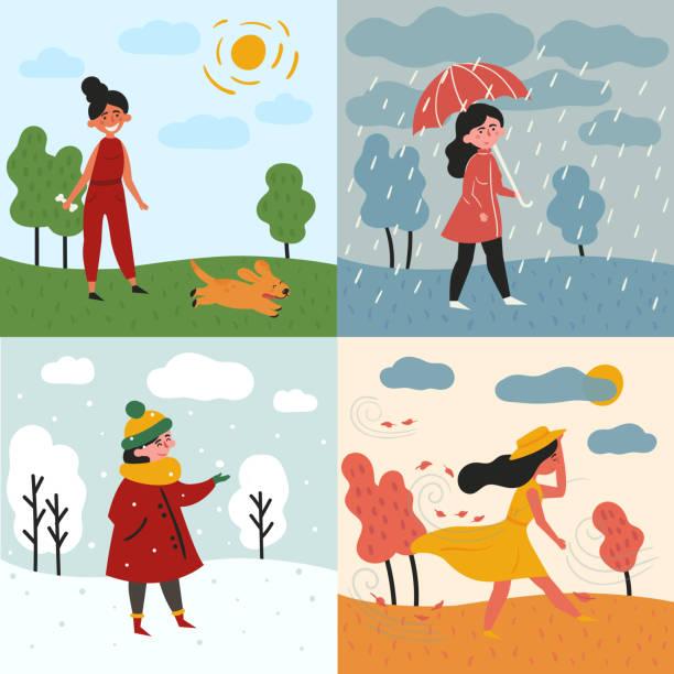 stockillustraties, clipart, cartoons en iconen met een meisje en vier seizoenen en weer. besneeuwde, regenachtige - regen zon