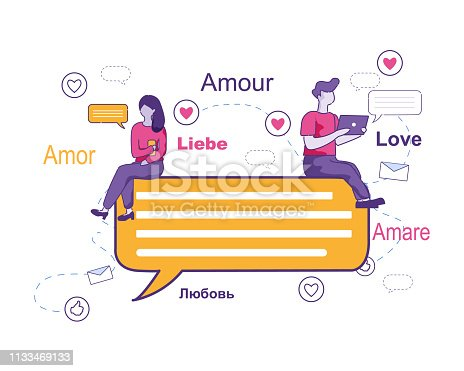 Young Girl and Guy Correspond in Different Languages in Different Languages around World. Modern People Sitting on Message Symbol Flying around Love Words. Vector Illustration on White Background.