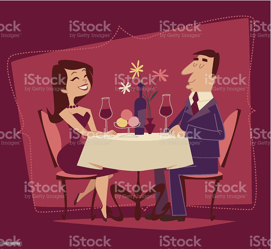 Girl and guy. Romantic date. Retro style vector illustration royalty-free stock vector art
