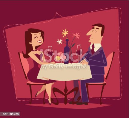 istock Girl and guy. Romantic date. Retro style vector illustration 452185759