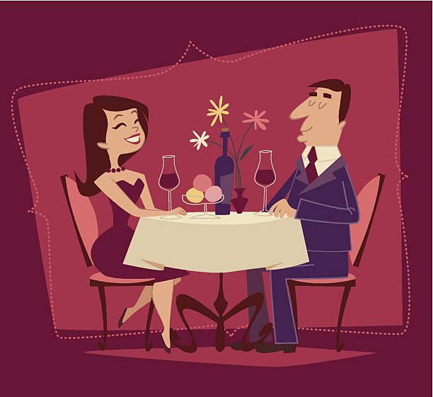 illustrazioni stock, clip art, cartoni animati e icone di tendenza di ragazza e ragazzo. romantica. stile retrò illustrazione vettoriale - dinner couple restaurant