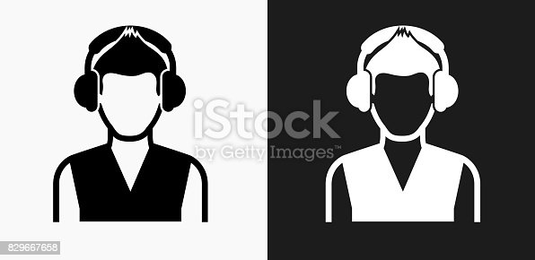 istock Girl and Headphones Icon on Black and White Vector Backgrounds 829667658