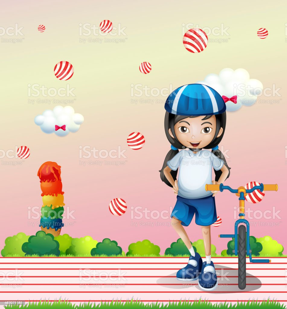 girl and her bicycle royalty-free stock vector art