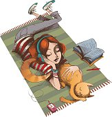 A girl and her cat lying on a striped carpet. Sketch and colors are on different layers.