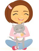 A vector illustration of a happy smiling girl holding her happy smiling cat. The girl and cat are grouped together on the same layer. Linear and radial gradients used. No meshes.