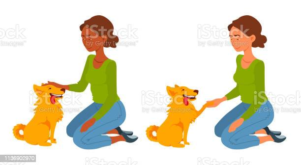 Girl and her cute dog a young woman sits on her knees pet the dog vector id1136902970?b=1&k=6&m=1136902970&s=612x612&h=1vge5tme3tbngx ouh e96 hqhd49z5si5m 1jwuina=