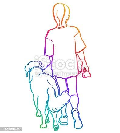 Girl And Her Dog Chalkboard Rainbow