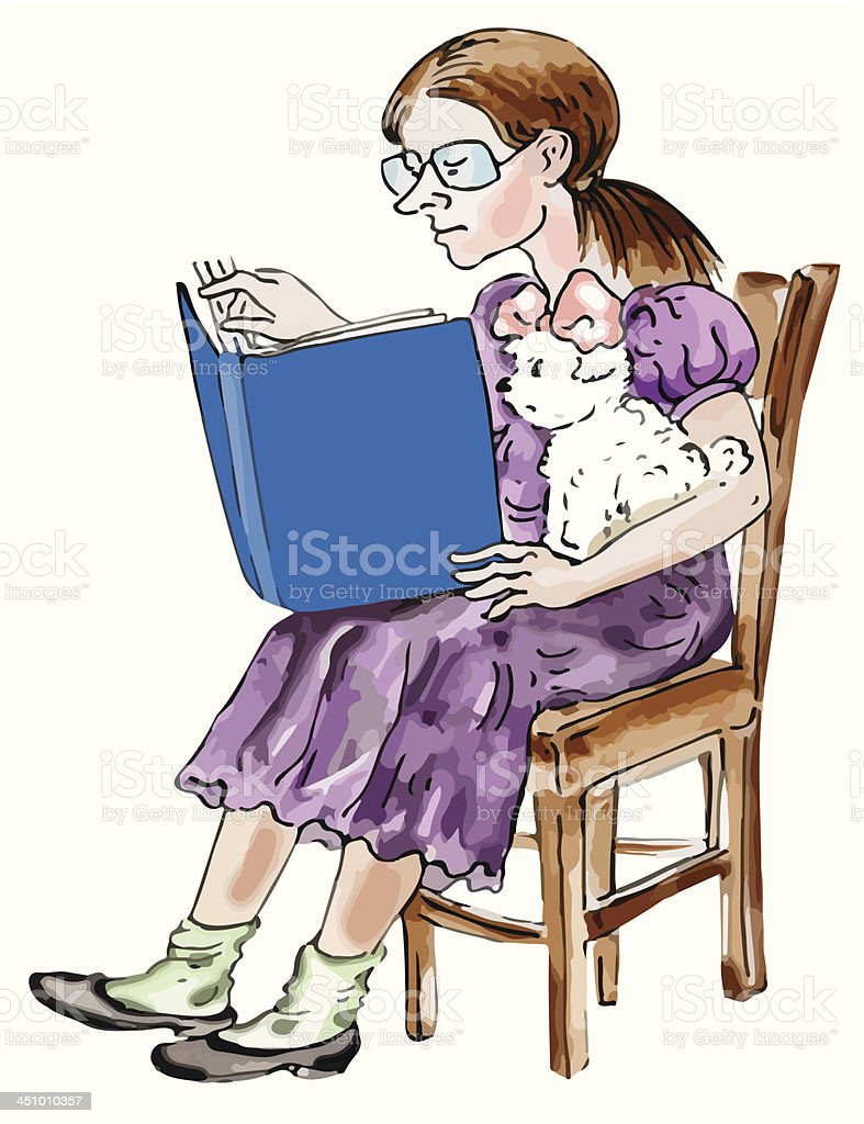 Girl and her Maltese dog reading royalty-free stock vector art