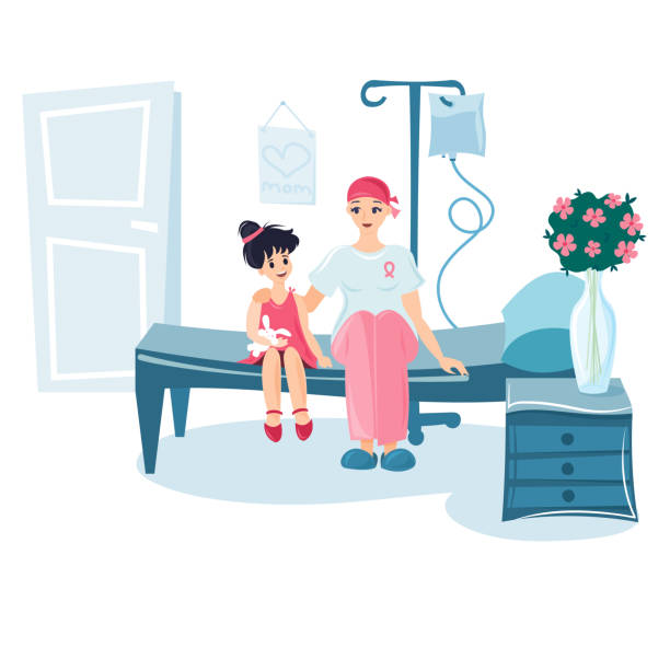 girl and her mother in the hospital ward. - cancer patient stock illustrations