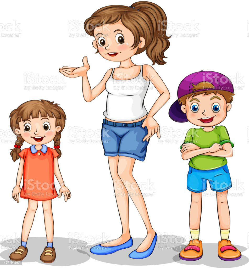 girl and her siblings vector art illustration