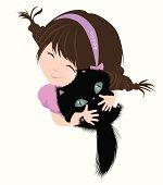illustration of the little girl and kitten
