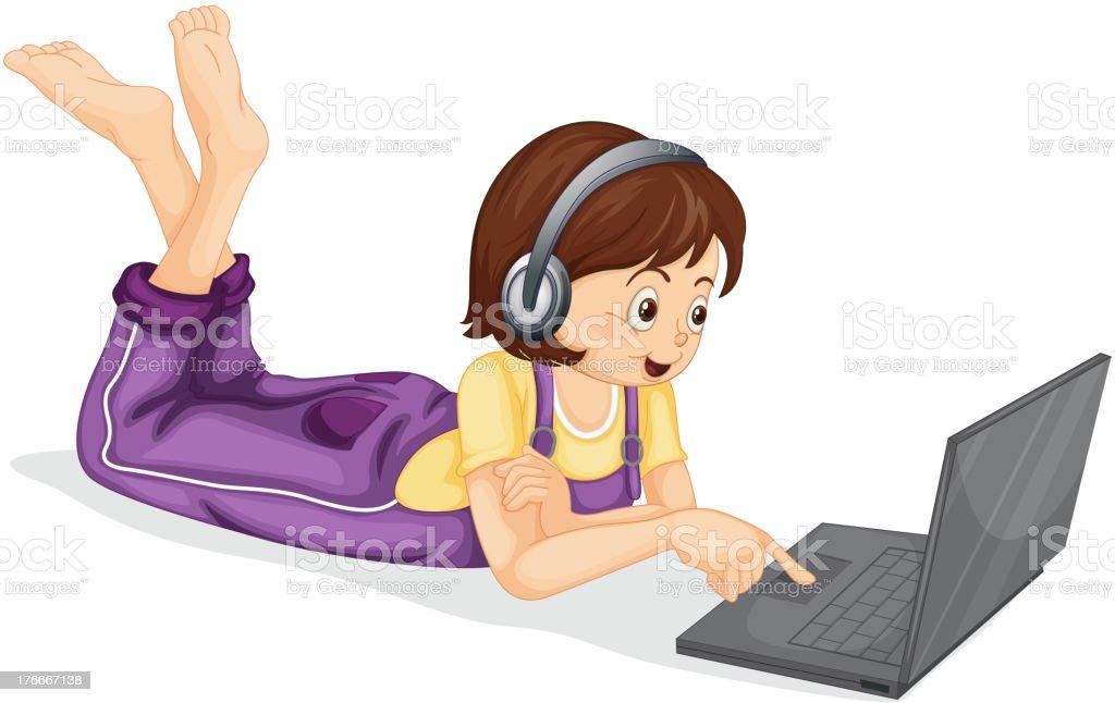 Niña y su computadora portátil ilustración de niña y su computadora portátil y más banco de imágenes de actividad libre de derechos