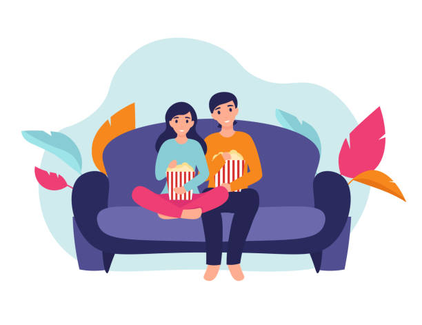 girl and man with popcorn on the couch - date night stock illustrations