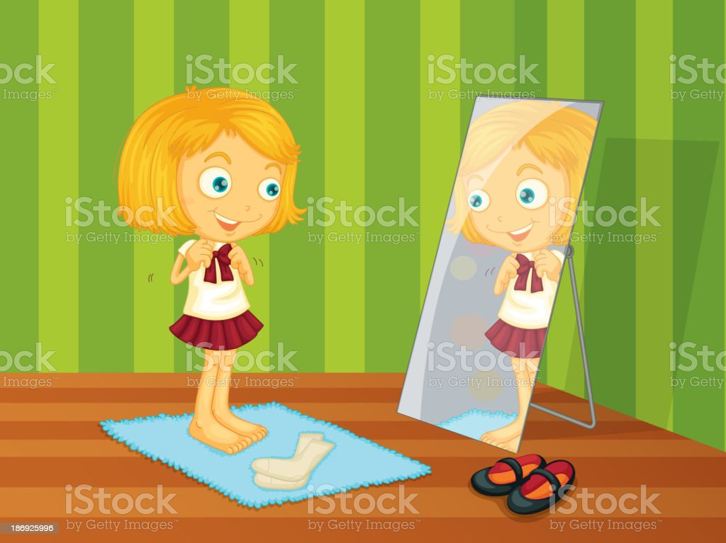 Mädchen und Spiegel – Vektorgrafik