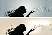 Illustration of a young girls touching several musical notes.