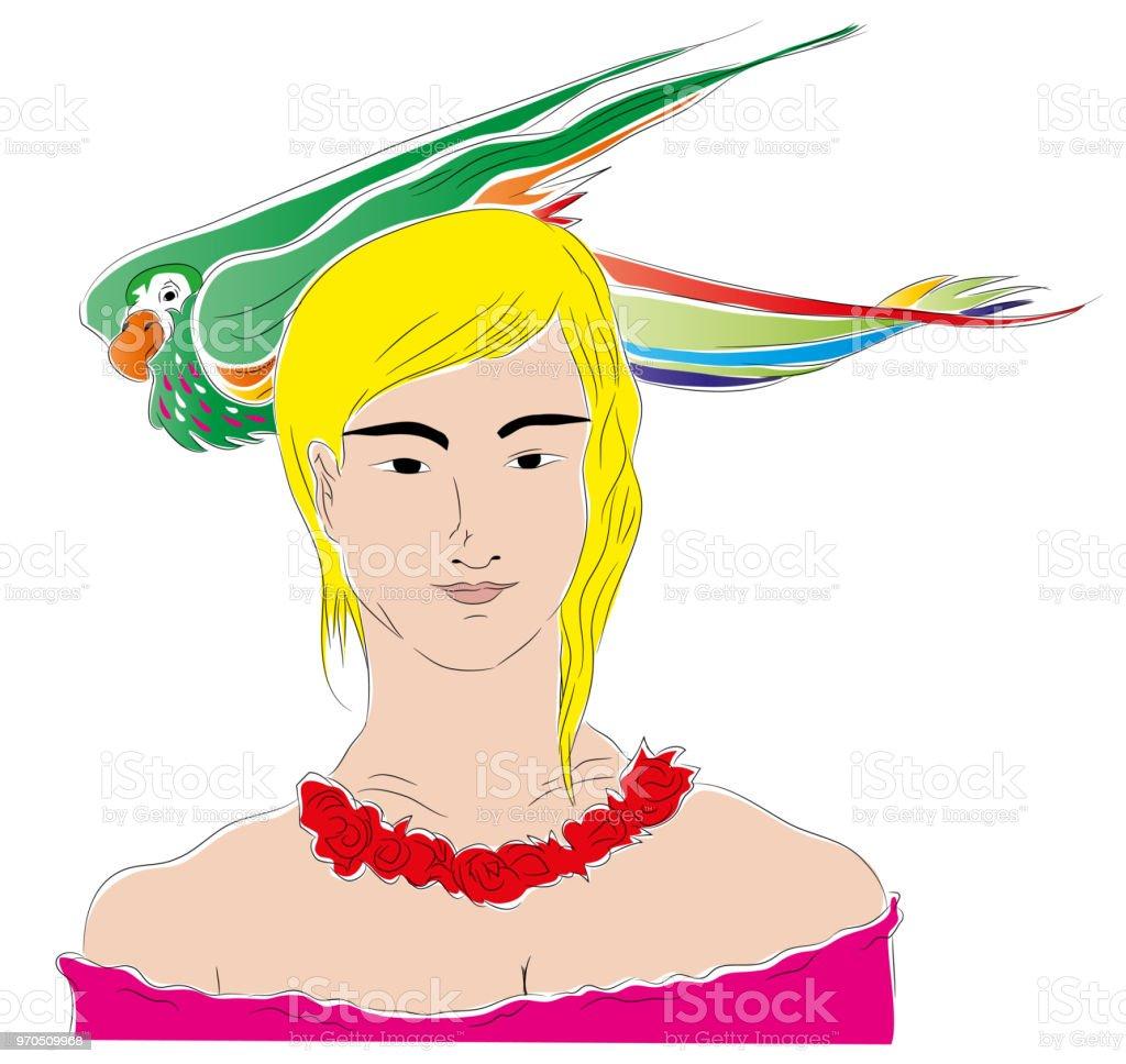 Kız ve papağan. vektör sanat illüstrasyonu
