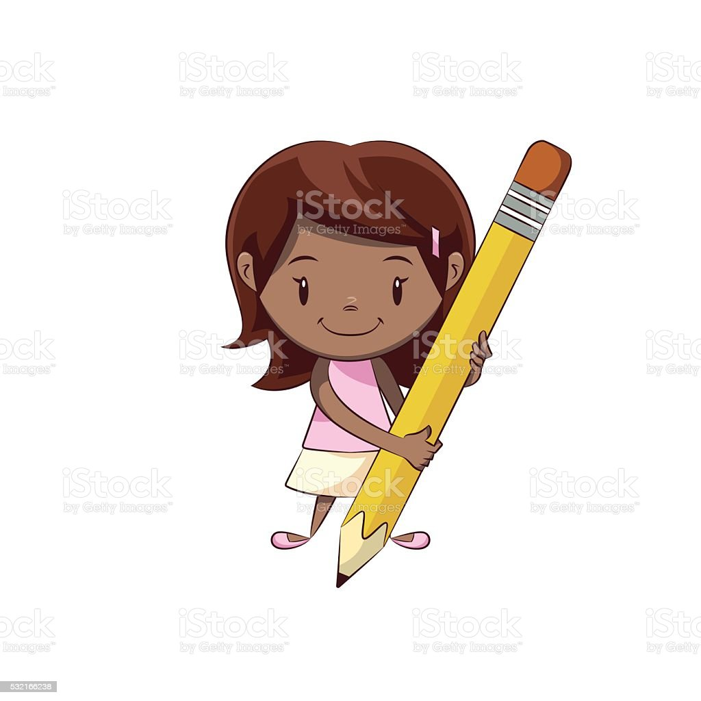 Girl and pencil vector art illustration