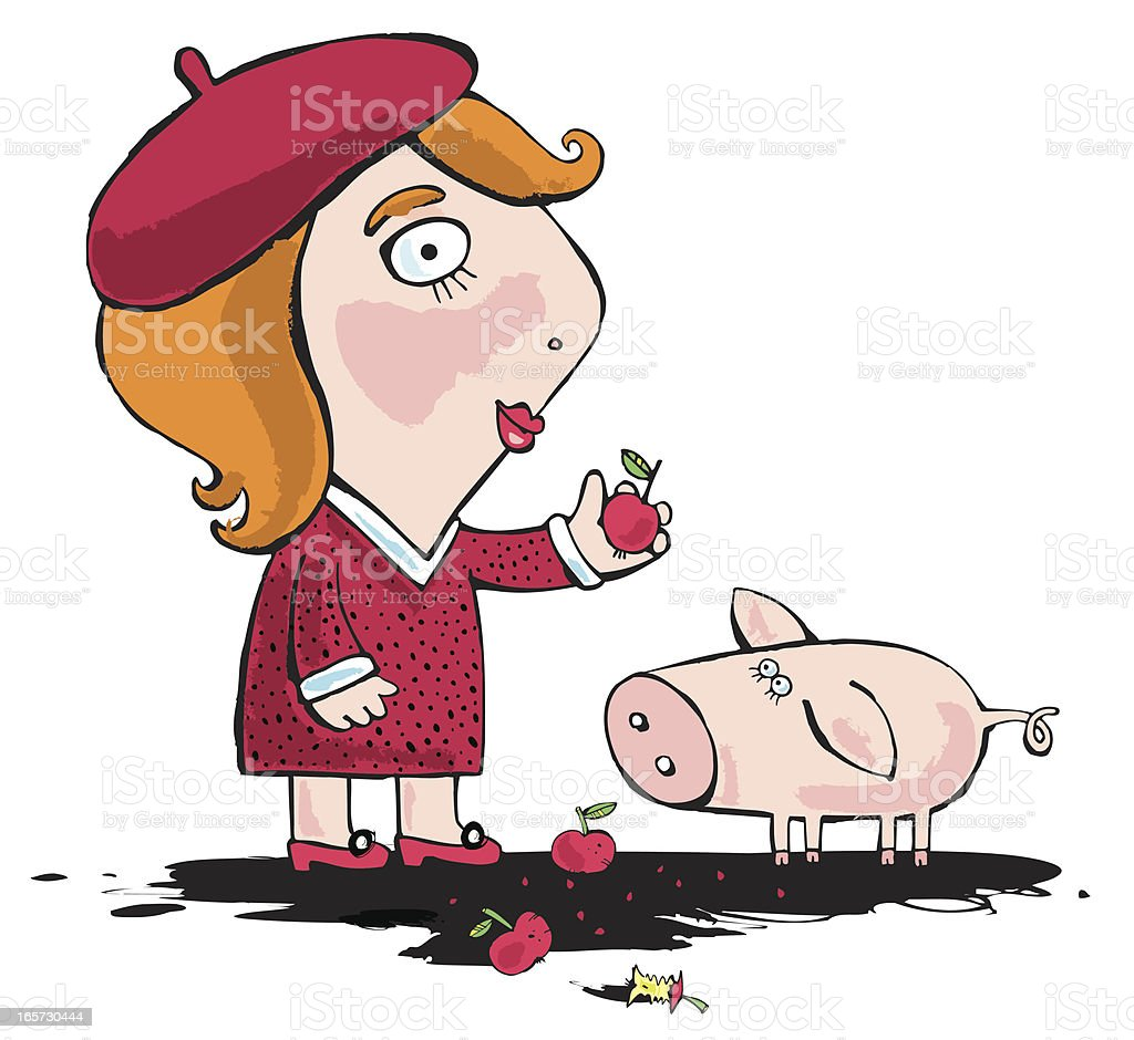Girl and pig royalty-free stock vector art