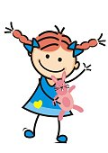Girl and plush rabbit, cute illustration, vector icon. Colored funny picture.