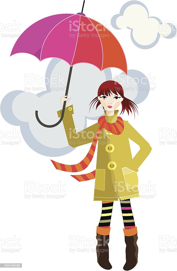 Girl and red umbrella royalty-free stock vector art
